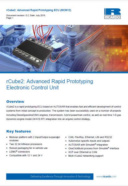 rCube2: Advanced Rapid Prototyping ECU (MCM12)