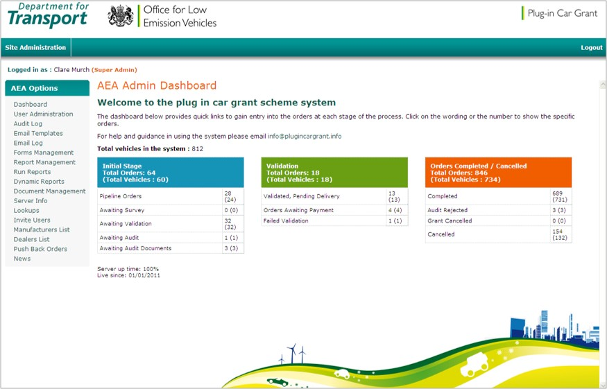 Office for low emissions vehicle application portal screenshot