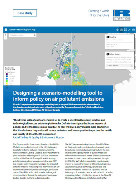 Designing a scenario-modelling tool to inform policy on air pollutant emissions