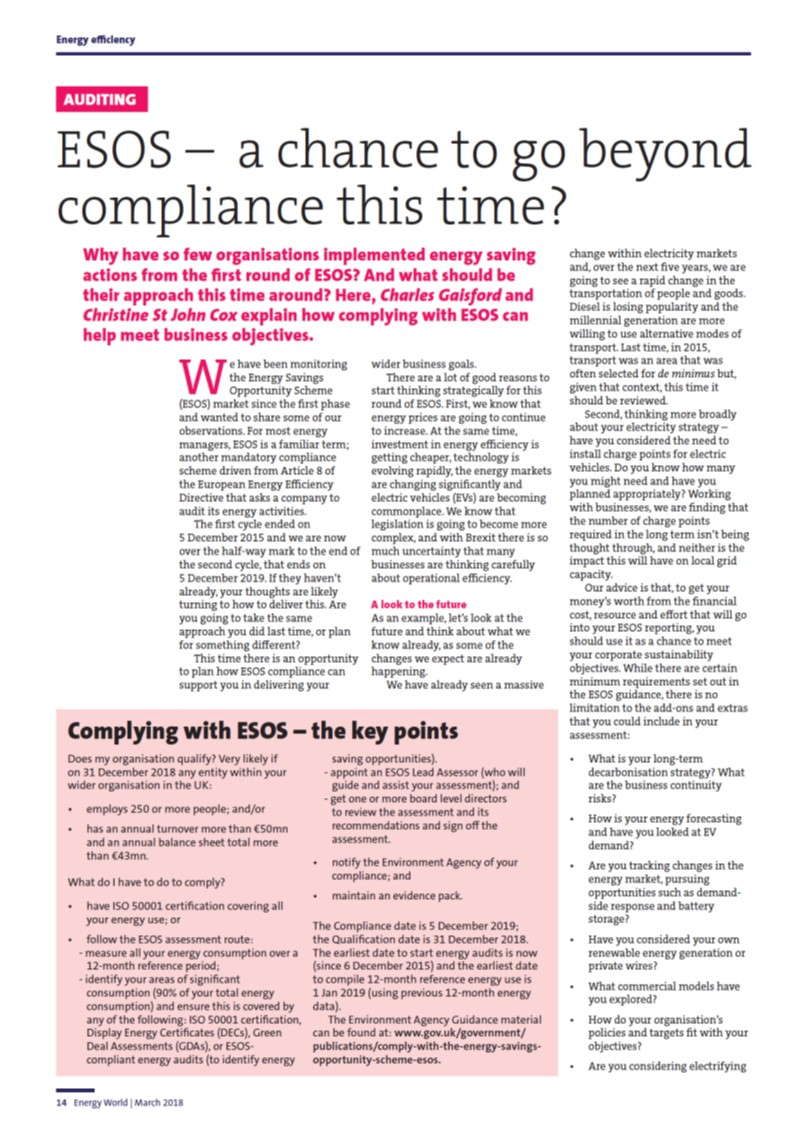 ESOS – a chance to go beyond compliance this time?