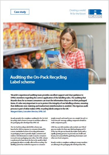 Auditing the On-Pack Recycling Label scheme