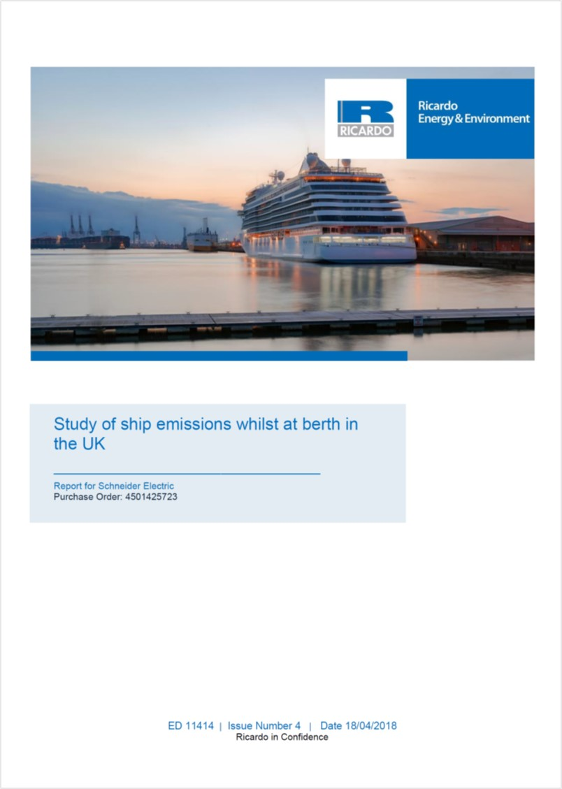 Study of ship emissions whilst at berth in the UK