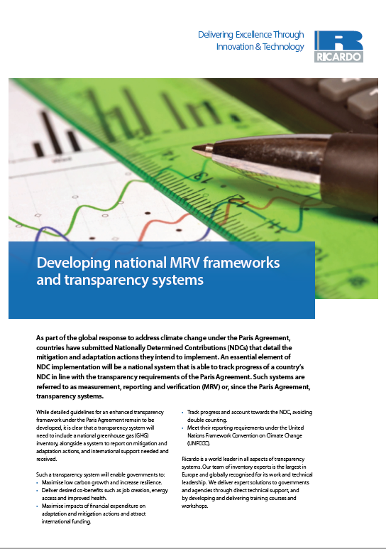 Developing national MRV frameworks and transparency systems