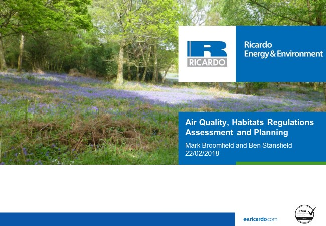 Air Quality, Habitats Regulations Assessment and Planning