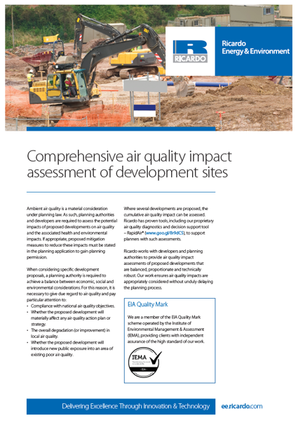 Comprehensive air quality impact assessment of development sites