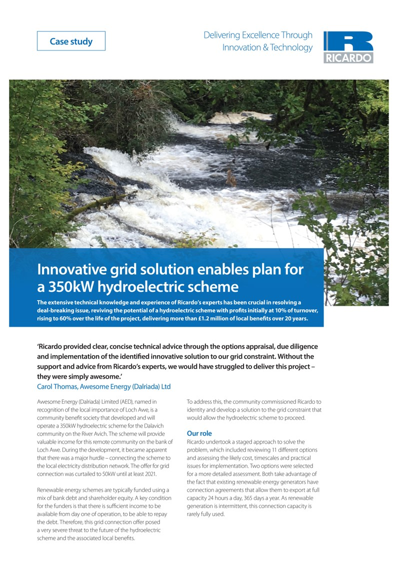 Innovative grid solution enables plan for a 350kW hydroelectric scheme