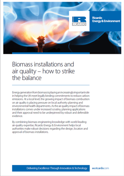 Air quality for biomass installations capability statement
