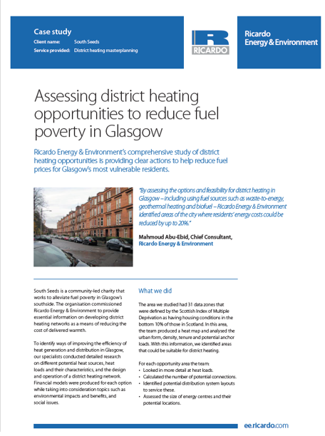 Assessing district heating opportunities to reduce fuel poverty in Glasgow
