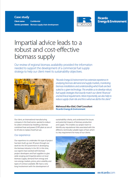 Impartial advice leads to a robust and cost-effective biomass supply