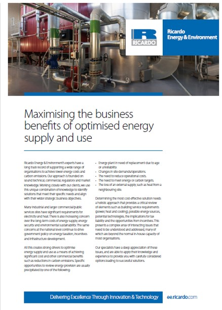 Maximising the business benefits of optimised energy supply and use