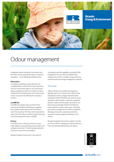 Odour management capability statement