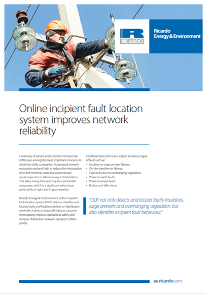 Online incipient fault location system capability statement