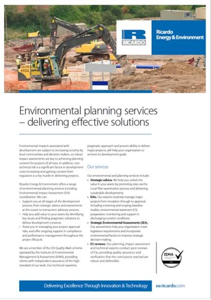 Environmental planning services capability statement