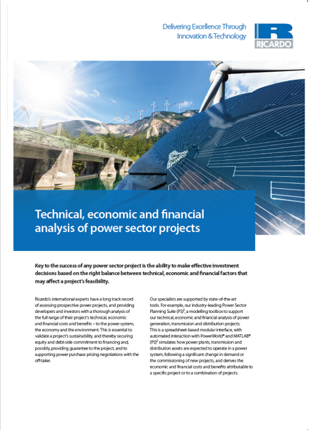 Technical, economic and financial analysis of power sector projects