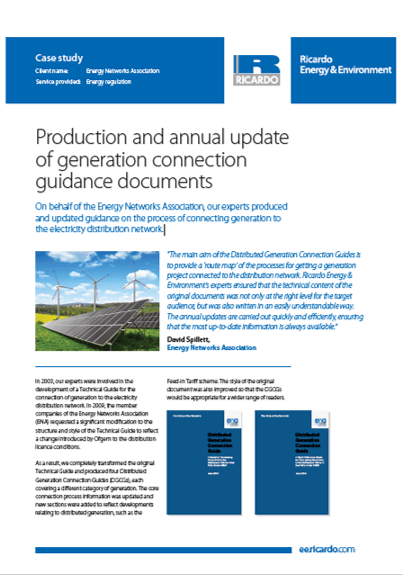 Production and annual update of generation connection guidance documents
