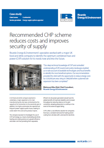 Recommended CHP scheme reduces costs and improves security of supply