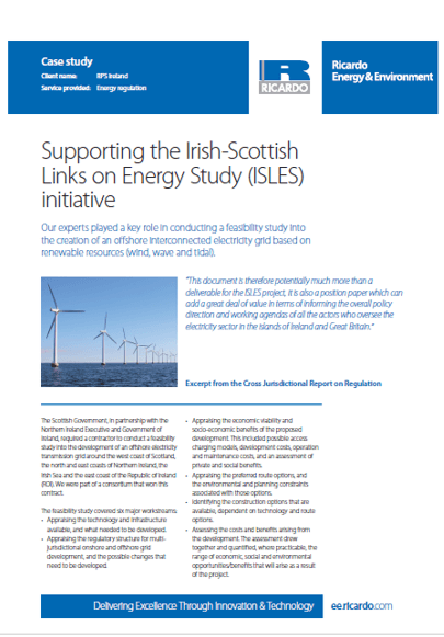 Supporting the Irish-Scottish Links on Energy Study (ISLES) initiative