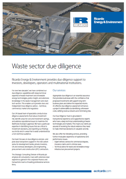 Waste sector due diligence capability statement