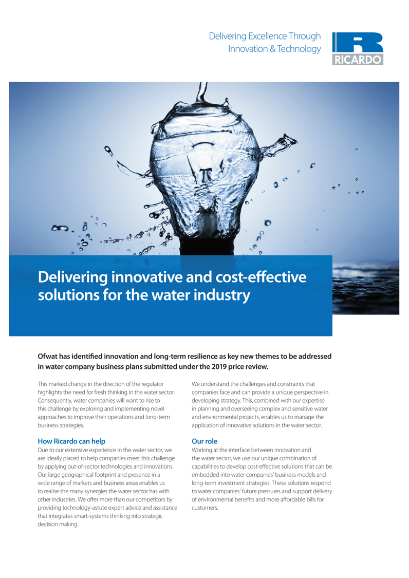 Delivering innovative and cost-effective solutions for the water industry