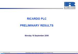 Preliminary Results Presentation June 2006