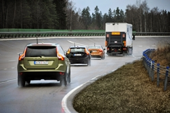 SARTRE road train tested at the Hällered proving ground in Sweden - 3 vehicles are following a lead truck at approximately 90 km/h with inter-vehicle gap of circa 6 metres