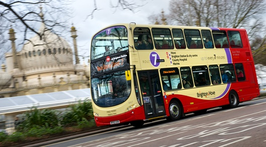 A Brighton and Hove 7 bus passing the Royal Pavilion - this route was selected for the PEMS study