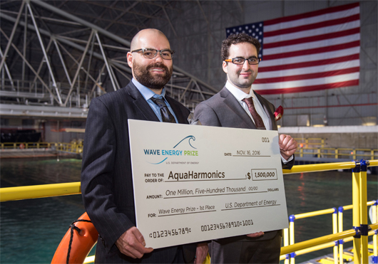 AquaHarmonics was overall winnder of the Wave Energy Prize – securing the $1.5 million grand prize
