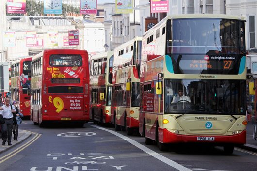 Brighton's North St is a known pollution hot spot and was a particular focus for the Ricardo PEMS research on the local bus fleet