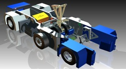 CAD model of the TaxiBot showing aircraft nose wheel and landing gear fully engaged