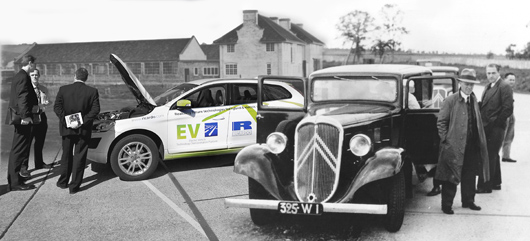 Montage showing the Ricardo engined Citroen Rosalie which in 1937 was the world's first commercially available diesel passenger car, a present day Ricardo SUV EV demonstrator, and the original Bridge Works constructed in the early years of Ricardo