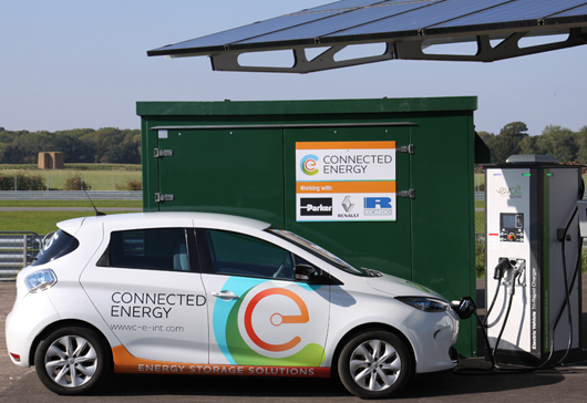 Connected Energy's E-STOR energy storage device and charging station