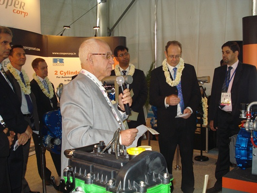Cooper Corporation chairman and MD Farrokh Cooper launches the new engines at Auto Expo 2012