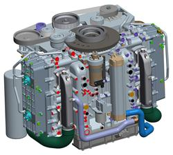 CAD model of the Cox Powertrain concept: CAE tools were used extensively to optimize and validate the design to an extremely high level prior to prototype manufacture.
