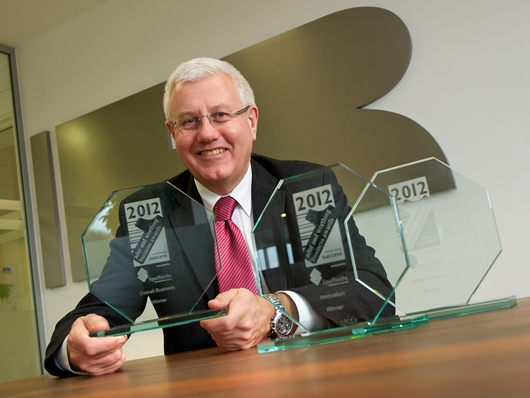Director of business operations, David Sheppard, with the three 2012 Adur and Worthing Business awards received by Ricardo
