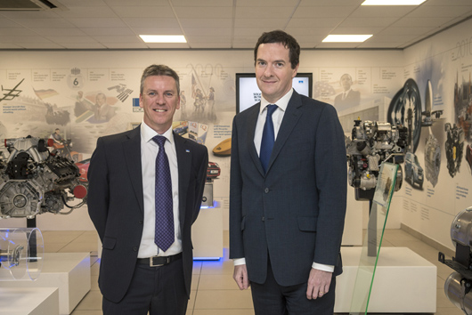 Ricardo CEO Dave Shemmans (left) with Chancellor of the Exchequer the Rt Hon George Osborne MP (right)