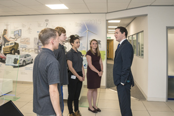 George Osborne talks to some of Ricardo's apprentices
