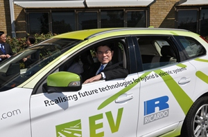 Hong Kong Secretary of State for the Environment Mr Edward Yau views a Ricardo EV demonstrator