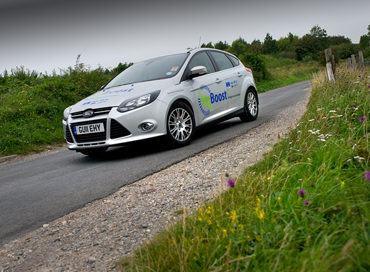 The HyBoost vehicle, a project to demonstrate the benefits of extreme engine downsizing through the implementation of intelligent electrification – developed in collaboration with a Controlled Power Technologies, the European Advanced Lead Acid Battery Consortium, Ford, Imperial College London and Valeo