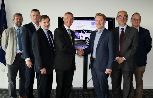 Pictured L-R are Professor Andy Atkins, Ricardo Chief Engineer, Colin Sirett, AMRC with Boeing Chief Executive Officer, Tom Gutwald, Managing Director of Ricardo Innovations, Mark Garrett, Ricardo Chief Operating Officer, Professor Sam Turner, AMRC Chief Technology Officer, Professor Mike Hounslow, Pro Vice-Chancellor for the University of Sheffield Faculty of Engineering and Jon Price, Strategic Advisor for the University of Sheffield, some of the representatives present at the signing of the MoU between Ricardo and the University of Sheffield AMRC.