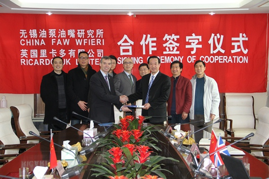 Ricardo plc executive director (left) shakes hands with WFIERI director Zhu Jianming (right) on signing the agreement