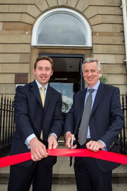 Jamie Pitcairn director of Ricardo-AEA in Scotland (left) and MD Robert Bell (right) formally open the new Glasgow office