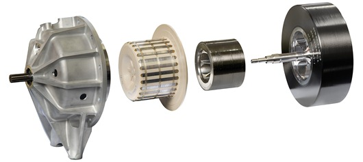 An exploded view of a prototype Kinergy high speed flywheel incorporating its magnetic gearing/coupling system
