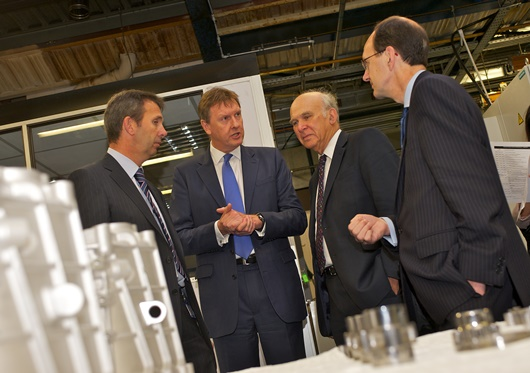 L-R Ricardo manufacturing director Mark Barge and MD Martin Fausset with Vince Cable and John Cridland