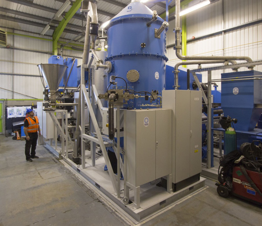 Recycling Technologies has developed a machine (RT7000) and is industrialising a process to convert residual plastic waste into a low sulphur hydrocarbon compound known as Plaxx(TM)