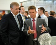 Ricardo CEO Dave Shemmans discusses an advanced Ricardo wind energy gearbox concept with HRH The Duke of York