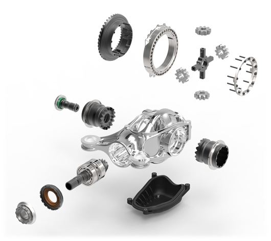 Exploded view of the ultra-lightweight rear drive unit designed by Ricardo