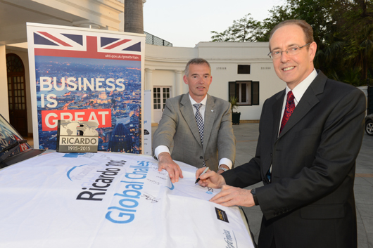 British High Commissioner to India Sir James Bevan KCMG signs the Ricardo100 Global Challenge flag