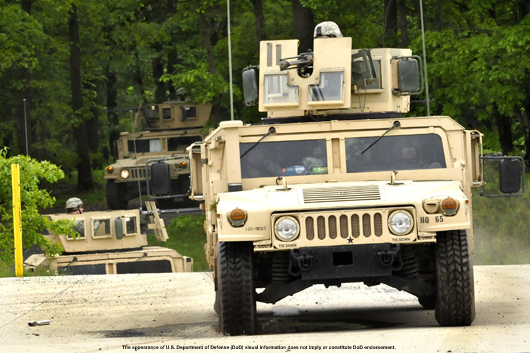 U.S. Army Calvary Scouts in up-armored HMMWV gun-trucks conduct a field training exercise. [The appearance of U.S. Department of Defense (DoD) visual information does not imply or constitute DoD endorsement]