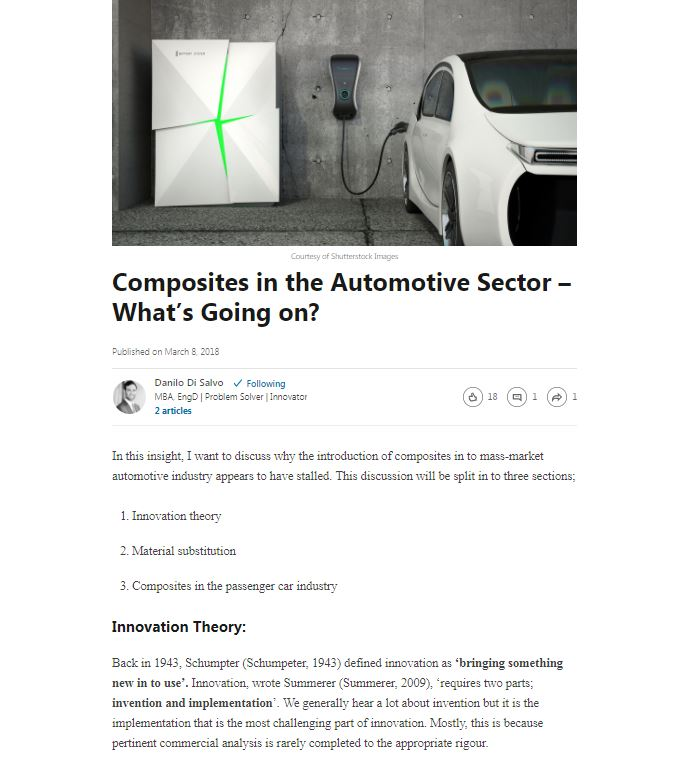 Composites in the Automotive Sector – What's Going on?