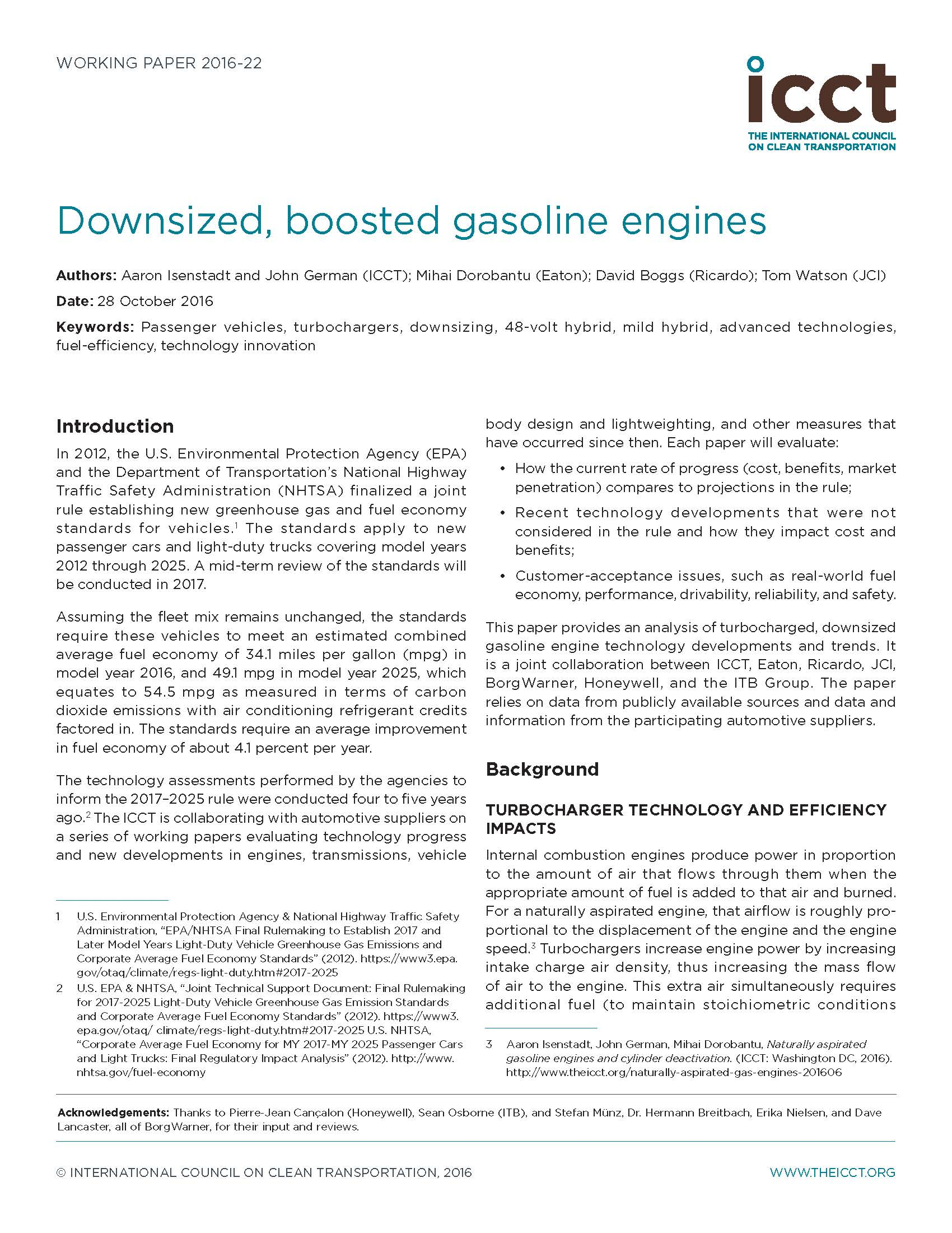 Downsized, Boosted Gasoline Engines
